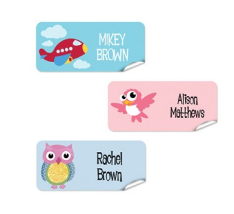 Rectangular name stickers
